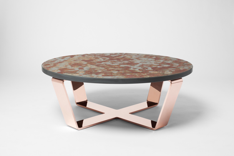 Slate table copper bord design furniture for Besondere couchtische